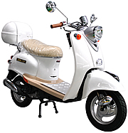 ICE BEAR Retro-50 49cc MOPED SCOOTER w/ Chrome Mirrors, Aluminum Floor Board, 2-tone Luggage Box, 100% Street Legal (PMZ50-5). Free shipping to your door. Free helmet and 1 year warranty.